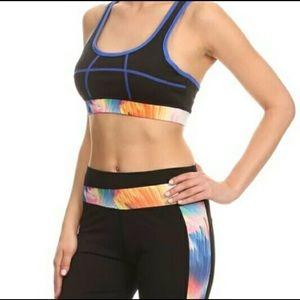 Pants - Black Blue Capri Workout set